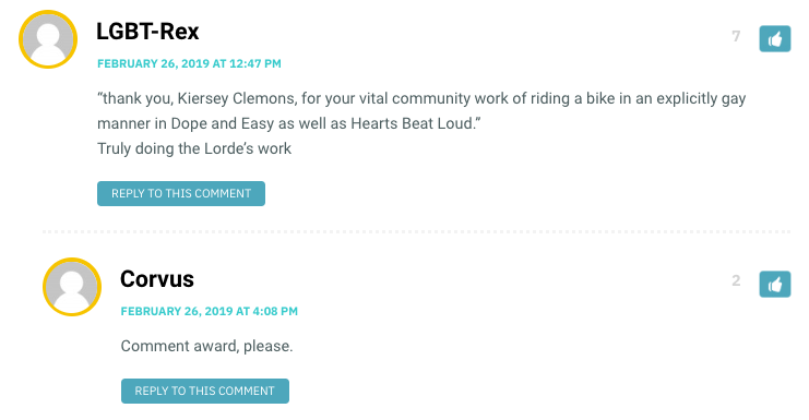 """thank you, Kiersey Clemons, for your vital community work of riding a bike in an explicitly gay manner in Dope and Easy as well as Hearts Beat Loud."" Truly doing the Lorde's work"