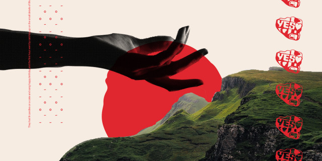 collage - hand reaching for shores of ireland, a red sunset