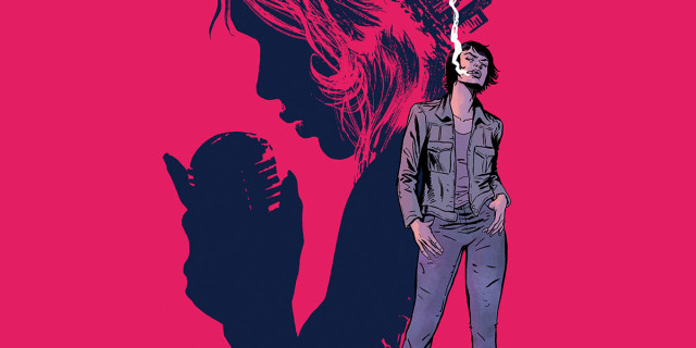 work for a million comic book art: helen smoking a cigarette in workmans clothes, a silhouette of a woman singing into a microphone behind her