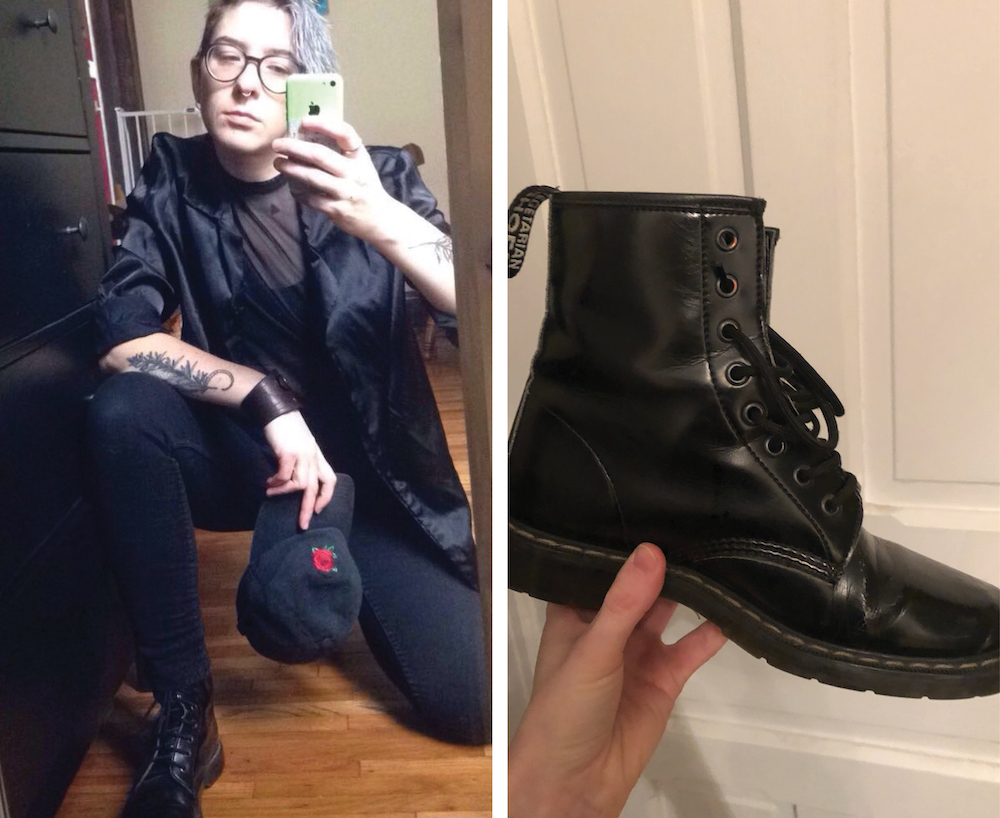 4ab3081a1e56 Boots are knock-off Doc Martens that a pal found in a dumpster for me