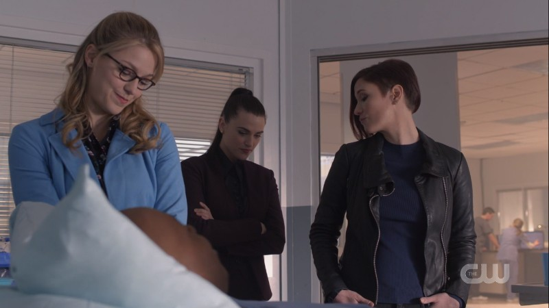 Kara, Lena and Alex all kind of look down but look great