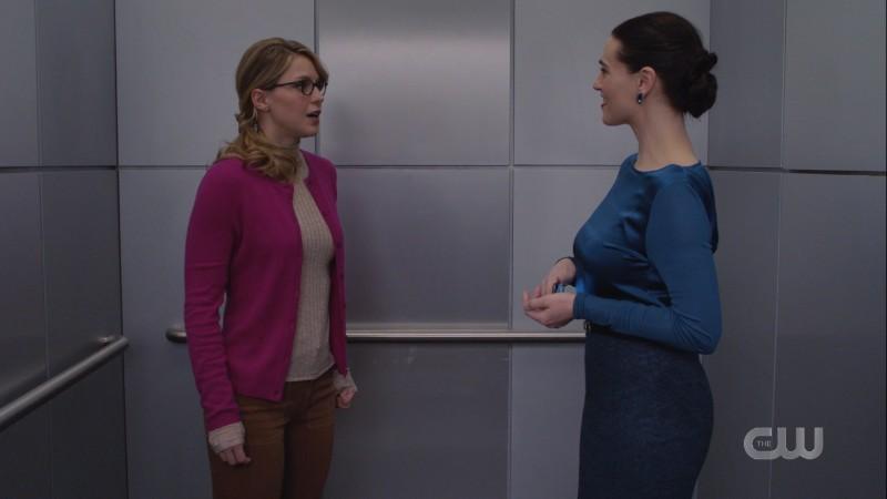 Kasnian Kara poses as Kara to talk to Lena in an elevator and is just staring at her adoringly