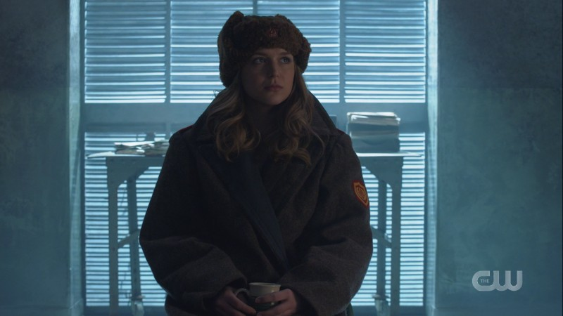Kasnian Kara wears a Russian fuzzy hat and is cozy in a too-big coat