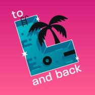 """The logo for To L and Back: an L-shaped pool with a black palm tree, inner tube, diving board, and ladder. Says """"To L and Back"""""""