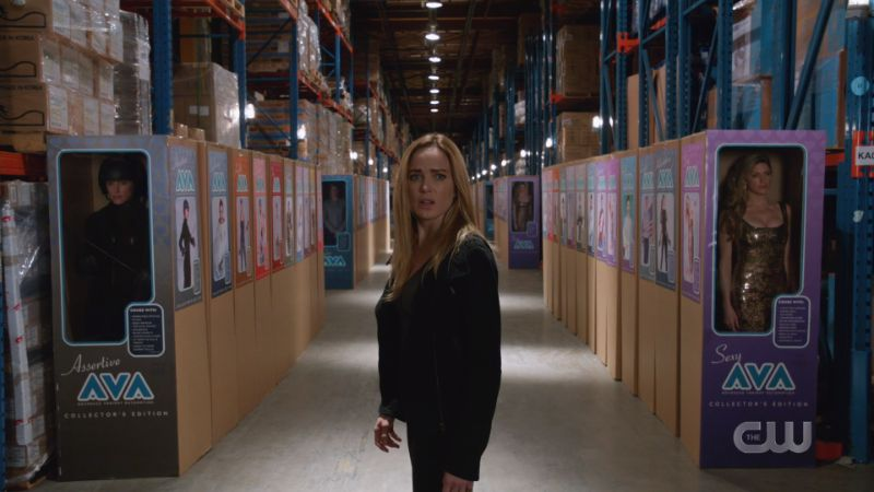 Sara is surrounded by Ava boxes