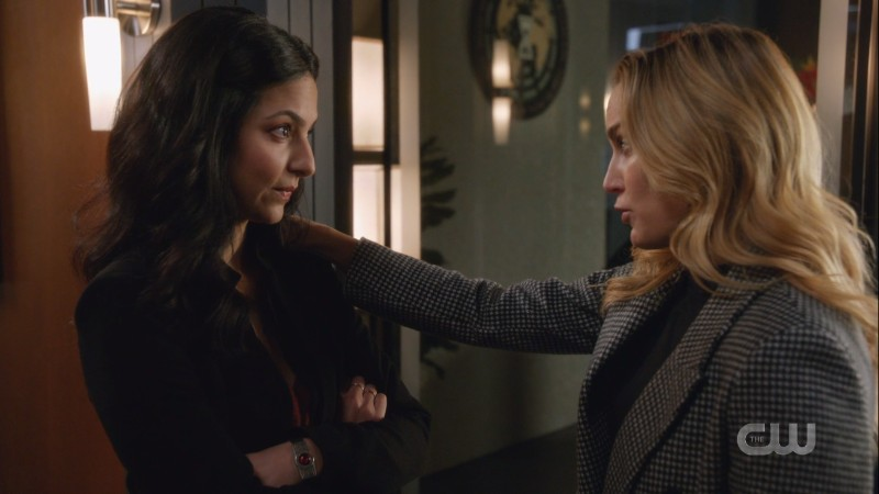 Sara puts her hand on Zari's shoulder to give her a pep talk