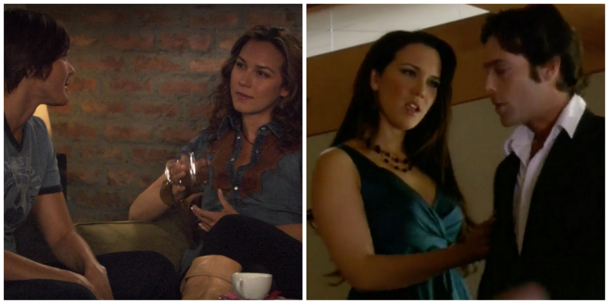 Side-by-side of the actress Simone Bailly. On the left she has brown curly hair, is wearing a cowgirl shirt and high boots, is holding a coffee cup as she plays Grace, who dates Max in Season Four. On the right, she wears a blue party dress and has dark brown straight hair as she plays Shona in Battlestar Galactica.