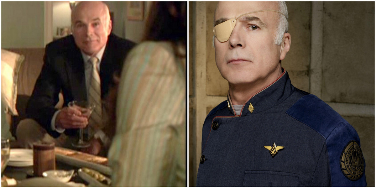 Side-by-side of the actor Michael Hogan. On the left, he is playing Dana's dad, wearing a suit and tie and holding a martini glass. On the right, he is playing Colonel Tigh, wearing a blue Battlestar Galactica jacket and an eye patch with a stern look on his face.