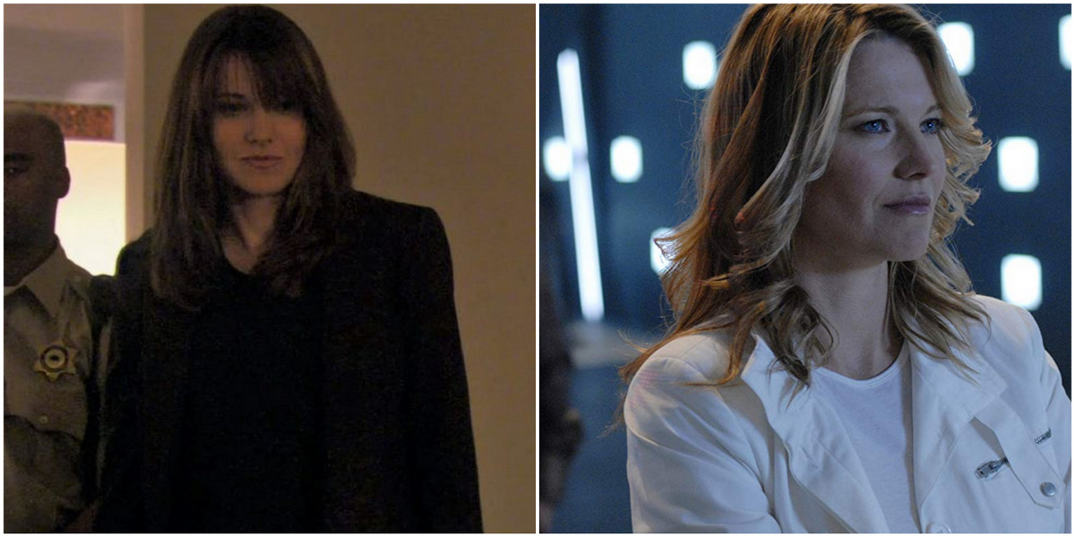 Side-by-side of the actress Lucy Lawless. On the right, she is a brunette wearing a black pantsuit and standing in front of a cop as she investigates a murder in Season 6. On the right, she is blonde wearing a white shirt and white jacket, staring off into the distance as she plays D'Anna Biers on Battlestar Galactica.