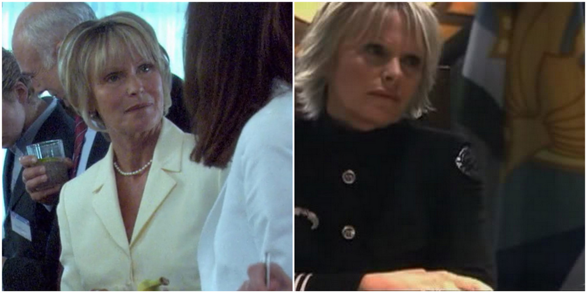Side-by-side of the actress Susan Hogan. On the left, she plays Dana Fairbanks' mom wearing a cream-colored pantsuit and pearls and is at a cocktail party with her daughter. On the right, she wears a high-collar black jacket as she plays Captain Doyle Franks on Battlestar Galactica.