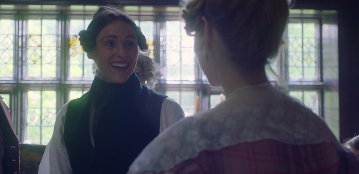 Anne Lister beaming upon Ann Walker as she sees her for the first time since they were much younger