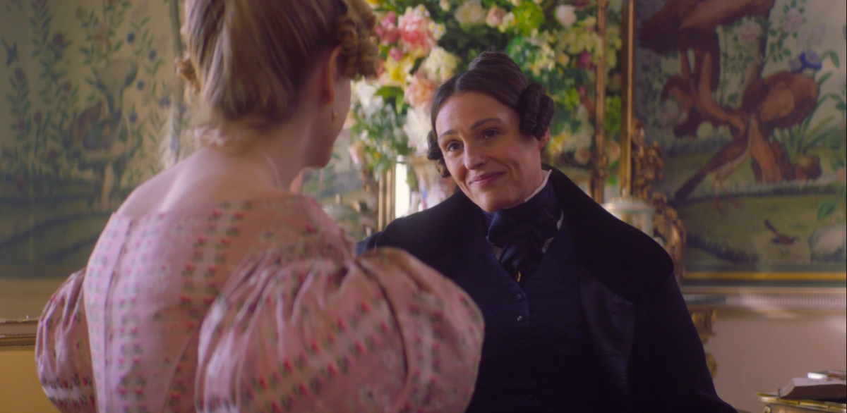 Anne Lister making a face as she talks about how great babies are