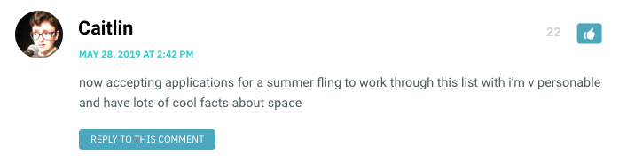 now accepting applications for a summer fling to work through this list with i'm v personable and have lots of cool facts about space