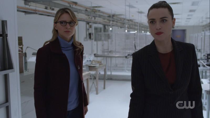 Lena and Kara look worriedly at the door
