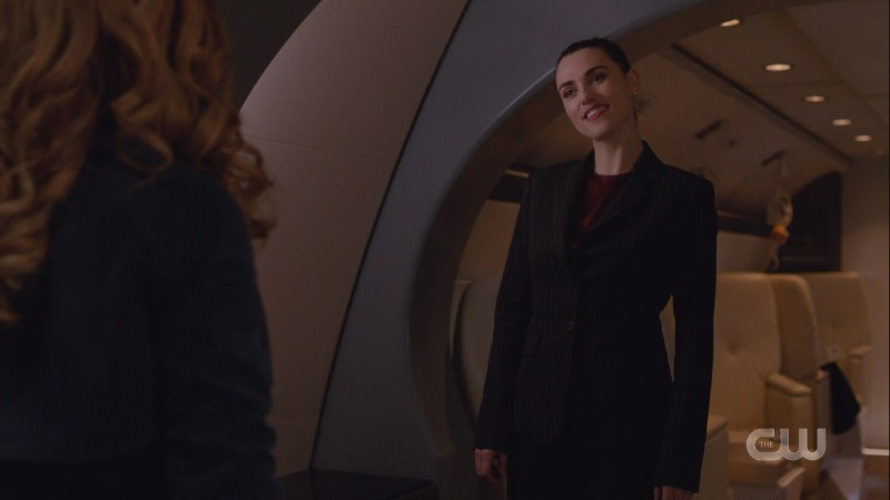 Lena smirks at Eve before kicking her ass