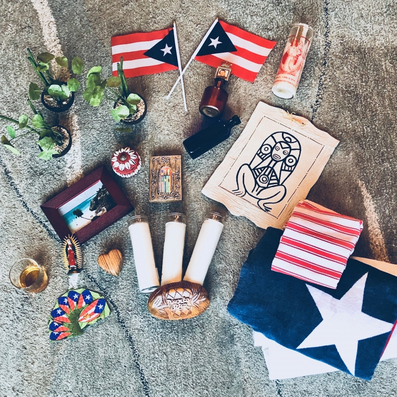 A collection of candles, Puerto Rican flags, and other altar making materials such as potted green paths and water fresh from the ocean.