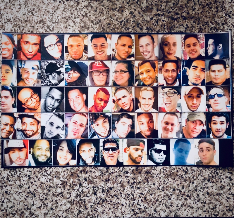 A photograph collage of all 49 lives lost during the Pulse Nightclub shooting.