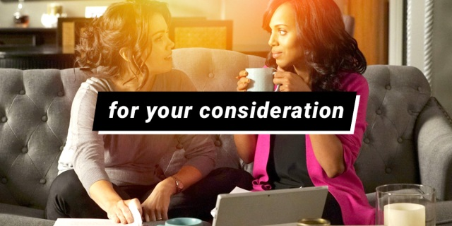 for your consideration scandal characters mellie and olivia sitting on a couch