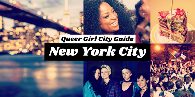queer girl city guide: new york city / images of brooklyn bridge, new yorkers posing at an event, a woman laughing, a piece of cake from meme's diner, and a crowd of people celebrating the marriage equality act being passed with a rainbow flag