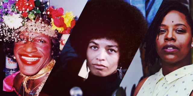 A collage featuring three key figures in Black August: Marsha P Johnson, Angela Davis, and Patrisse Cullors