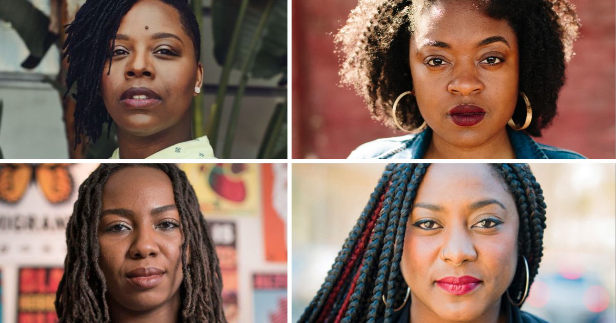 A collage of the founders of the Black Lives Matter movement: Patrisse Cullers, Opal Tometi, and Alicia Garza. Also included in the collage is Charlene Carruthers.