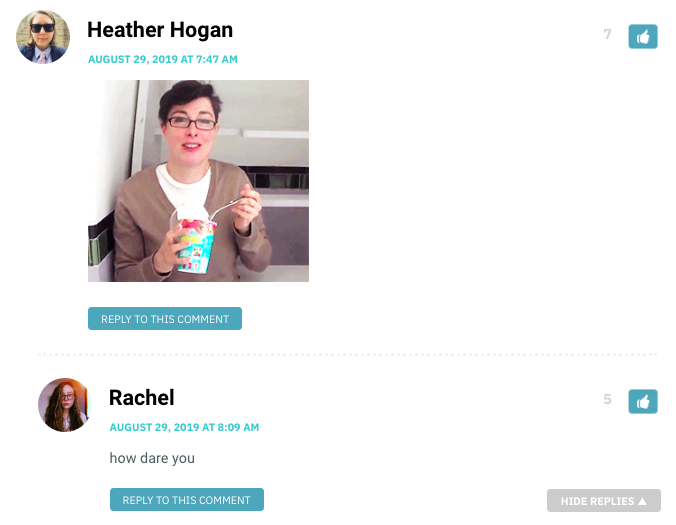 Heather: [gif of Sue Perkins eating a frozen treat, looking super cute / Rachel: how dare you
