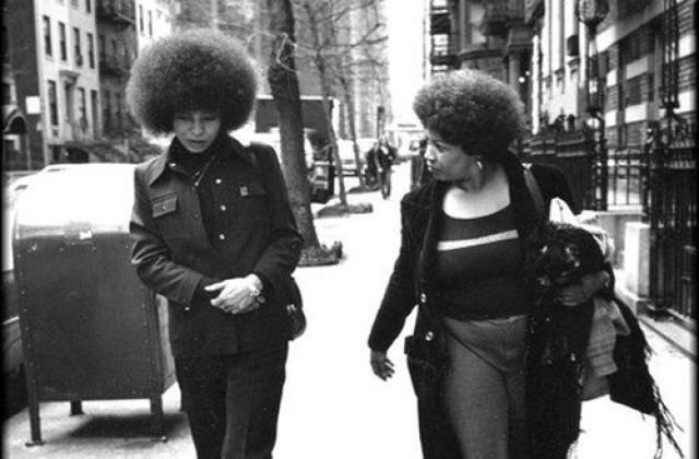 Toni Morrison walking with Angela Davis in New York in the 1970s.