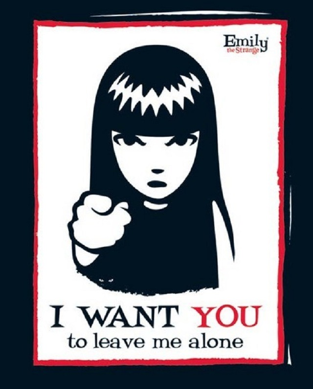 "A cartoon character with blunt-cut bangs and long, dark hair points at the reader with an angry expression on her face. Beneath her is the text, ""I WANT YOU to leave me alone."""