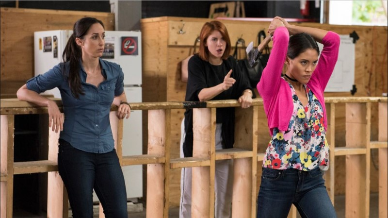 workin' moms characters throwing axes