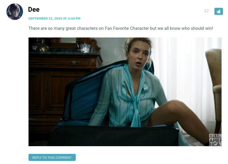 There are so many great characters on Fan Favorite Character but we all know who should win! [Gif of Villanelle climbing out of a suitcase]