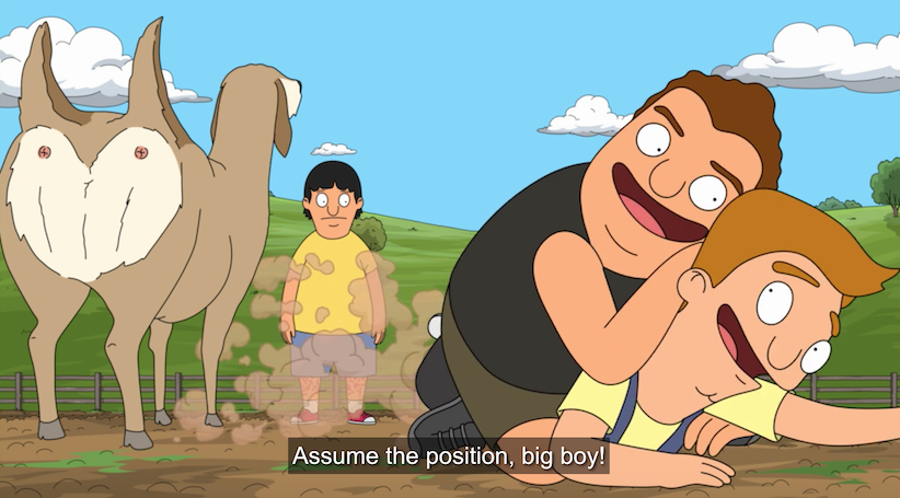"Zeke, wrestling Jimmy, says ""Assume the position, big boy!"""