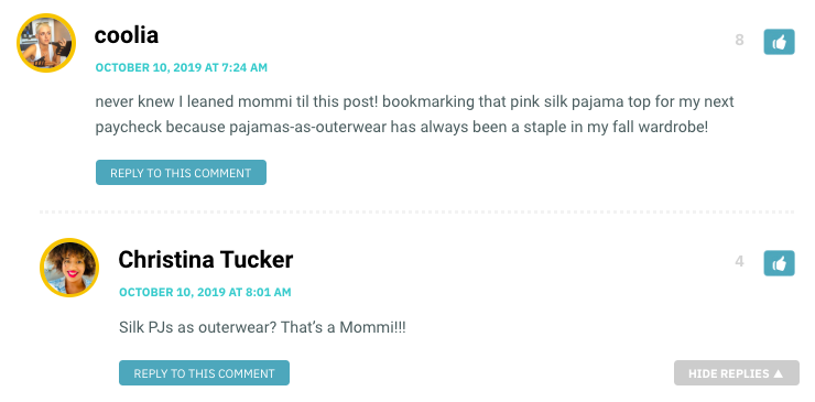 never knew I leaned mommi til this post! bookmarking that pink silk pajama top for my next paycheck because pajamas-as-outerwear has always been a staple in my fall wardrobe!