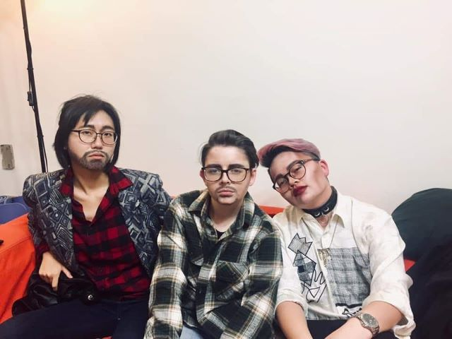 Left to right: the author as Mandrew D. Johnson, Roman Coke and Man Baobao posing in drag.