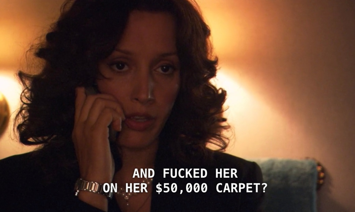 """Bette is talking to Tina on her cell phone in Senator Grisham's bathroom to tell her about the sexual tension that is ensuing. Bette asks rhetorically, """"So it would be fine with you if I went back in there and fucked her on her 50,000 dollar carpet?"""" Bette looks confused and annoyed."""