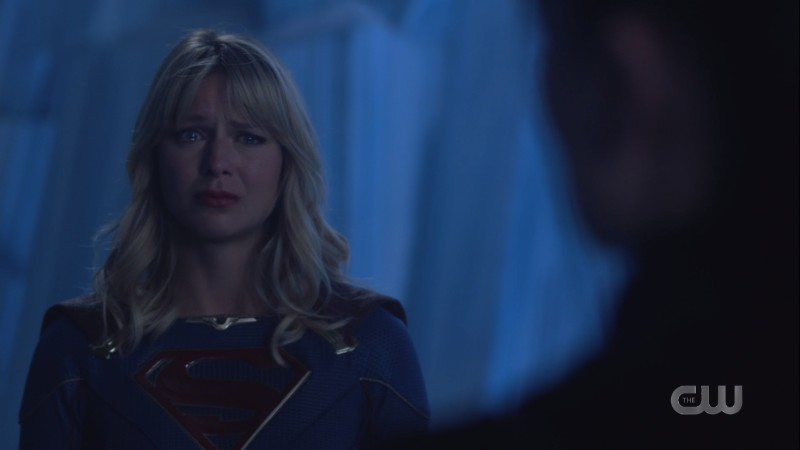 Kara's eyes are filled with big sad tears