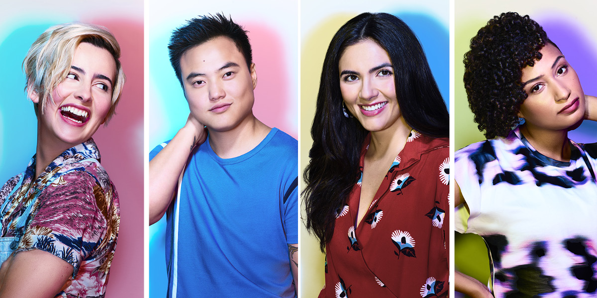 "Four photos side-by-side, each of one of the new cast members of ""The L Word: Generation Q."" From left to right: Jacqueline Toboni (who plays Finley), Leo Sheng (who plays Micah), Arienne Mandi (who plays Dani) and Rosanny Zayas (who plays Sophie)"