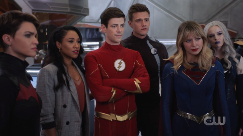 Kate, Iris, Barry, Ralph, Kara and Frost look on