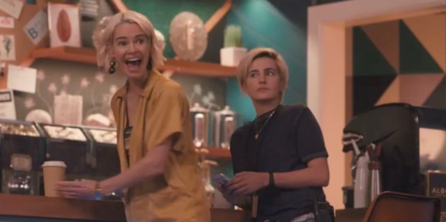 Alice and Finley are on the set of Alice's show. Alice is surprised to see someone, and Finley doesn't know why.