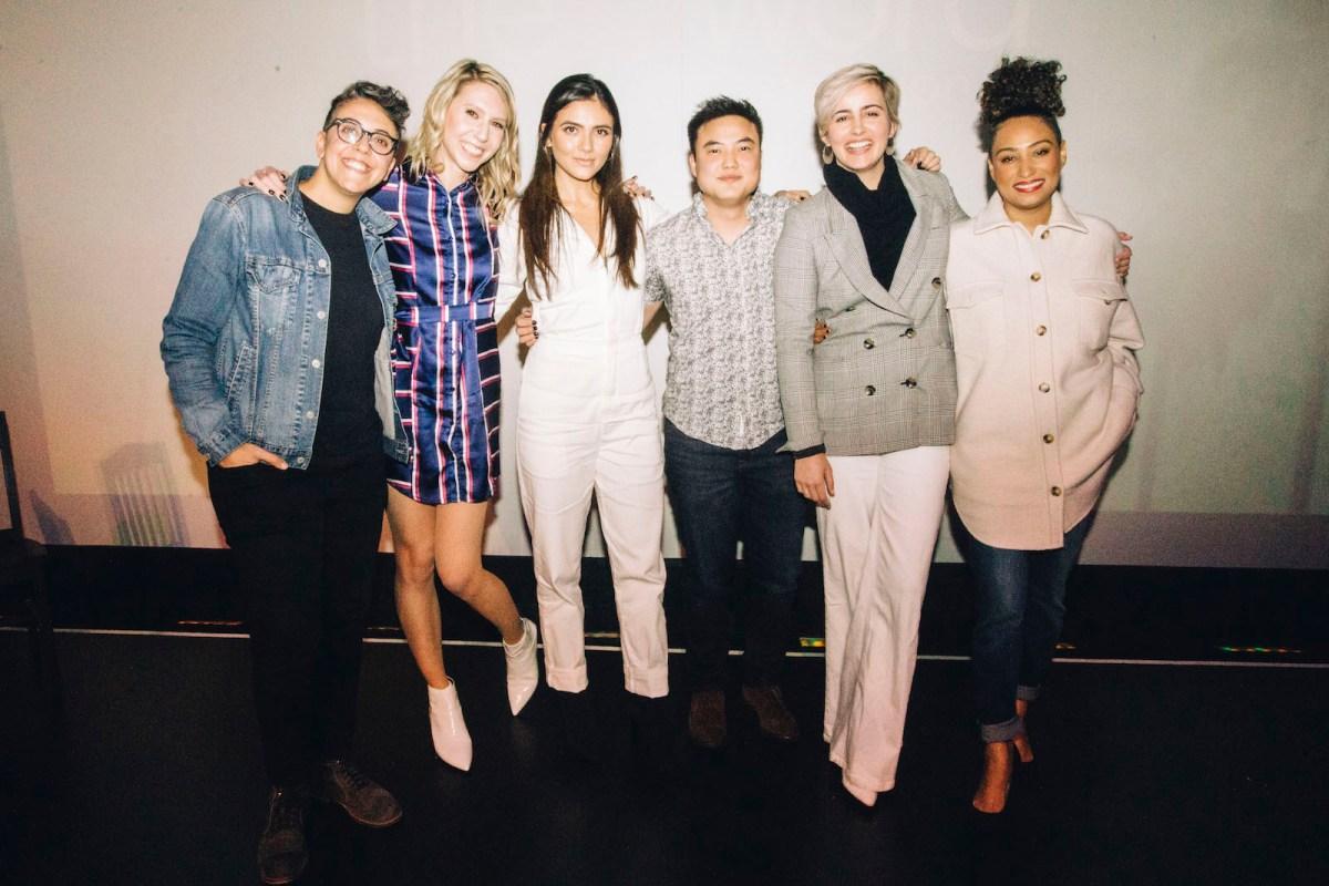 A group photo. From left to right: Carly Usdin, Riese Bernard, Arienne Mandi, Leo Sheng, Jacqueline Toboni, and Rosanny Zayas