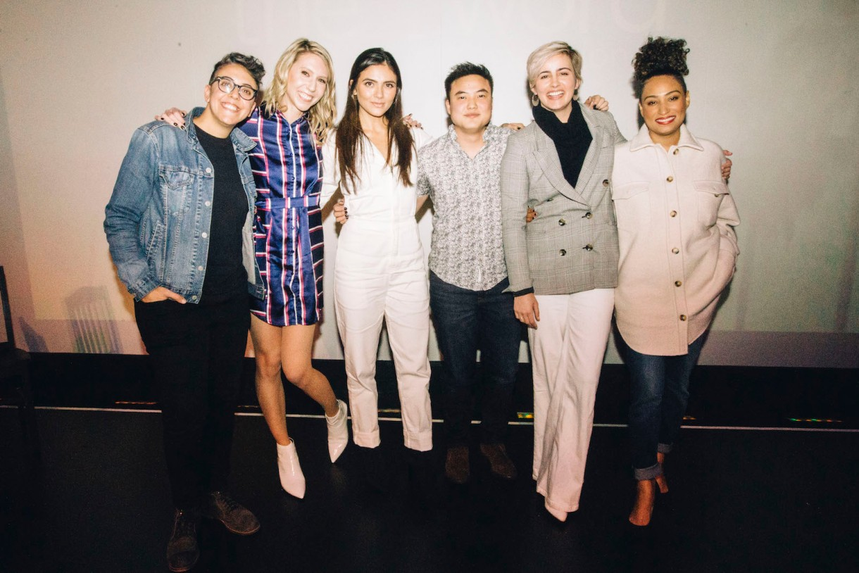 "The hosts of ""To L and Back"" pose with the cast of Generation Q after the live podcast. From left to right: Carly Usdin, Riese Bernard, Arienne Mandi, Leo Sheng, Jacqueline Toboni, Rosanny Zayas"