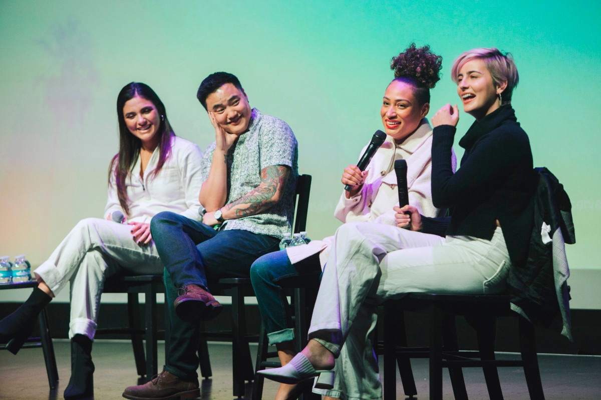 The cast of Generation Q sits on stage. From left to right: Arienne Mandi (Dani), Leo Sheng (Micah), Rosanny Zayas (Sophie) and Jacqueline Toboni (Finley).
