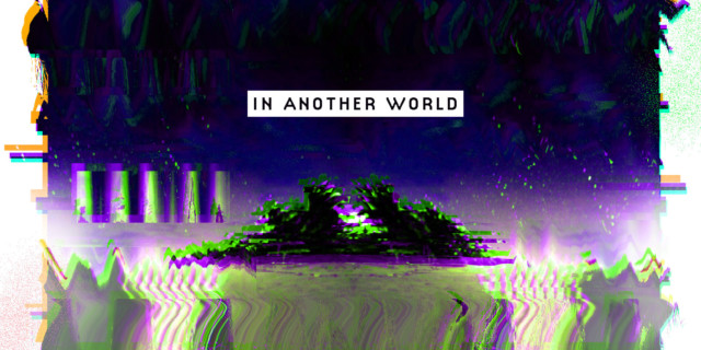 in another world [image of a highly glitchy and alien landscape — an island in water, with a dark purple sky
