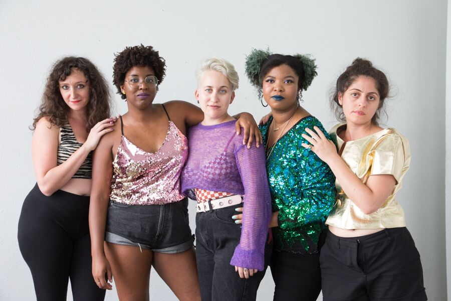 five women in a line