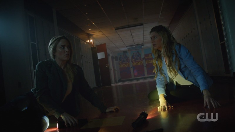 Avalance on the floor exchanging looks