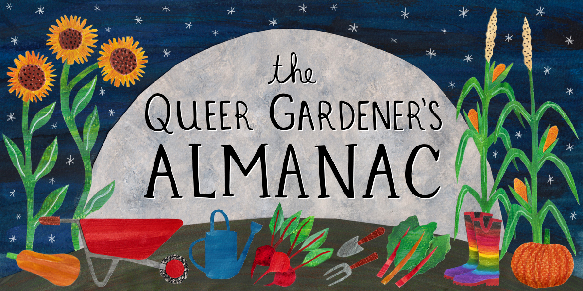 A masthead showing various gardening accoutrements in front of a giant moon