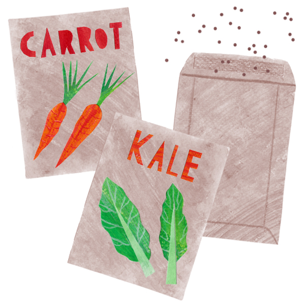 packets of carrot and kale and mystery seeds drawn by a very talented lesbian