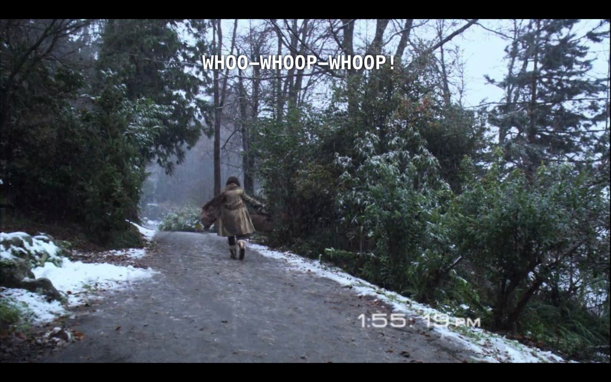 """Bette continues her happy dance down a snow-dusted dirt path. She continues to yell, """"Whoo-whoop-whoop!"""""""