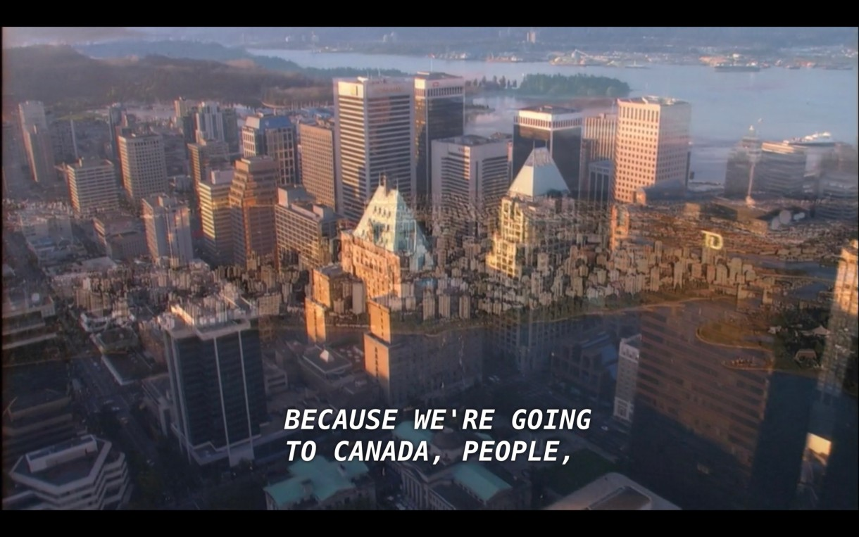 """An aerial shot of skyscrapers. Offscreen, Alice says, """"Because we're going to Canada, people."""""""