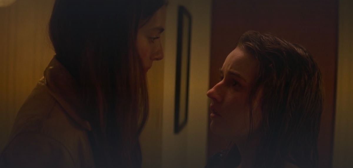 """Two teenagers, locked in a bathroom during a graduation party, realize their deep feelings to each other by communicating only with their eyes. """"Booksmart"""" is a lesbian movie available for streaming on Hulu."""