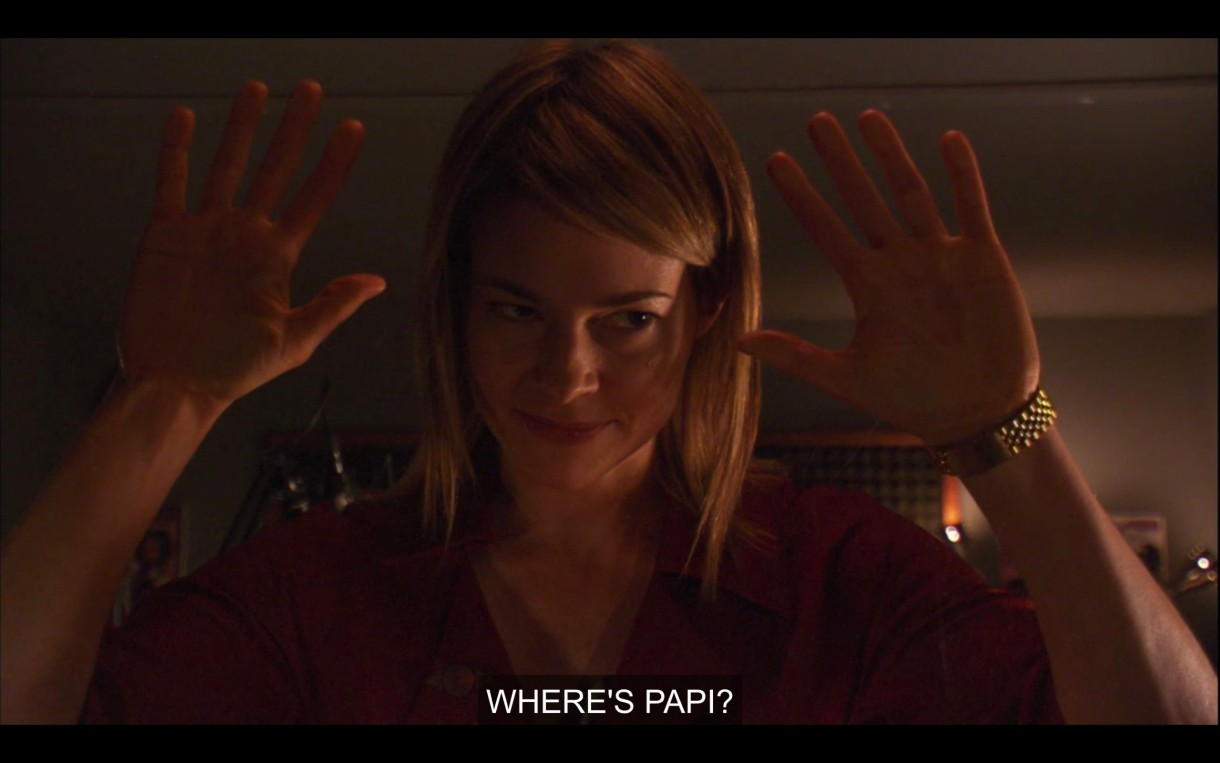 """Alice plants her palms on the clear glass wall between her and the editors of her radio show, and says """"Where's Papi?"""""""